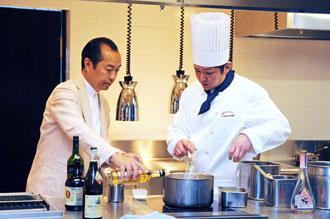 田崎さん厨房(桜晩餐会)